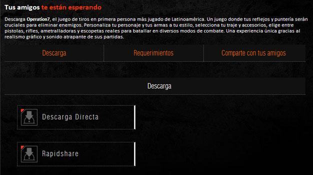 Muestra de la página de descarga de Operation7, el juego de tiros en primera persona con más usuarios de lationoamérica
