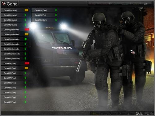 Listado de canales de la interfaz de Operation7, el juego de tiros en primera persona con más usuarios de lationoamérica
